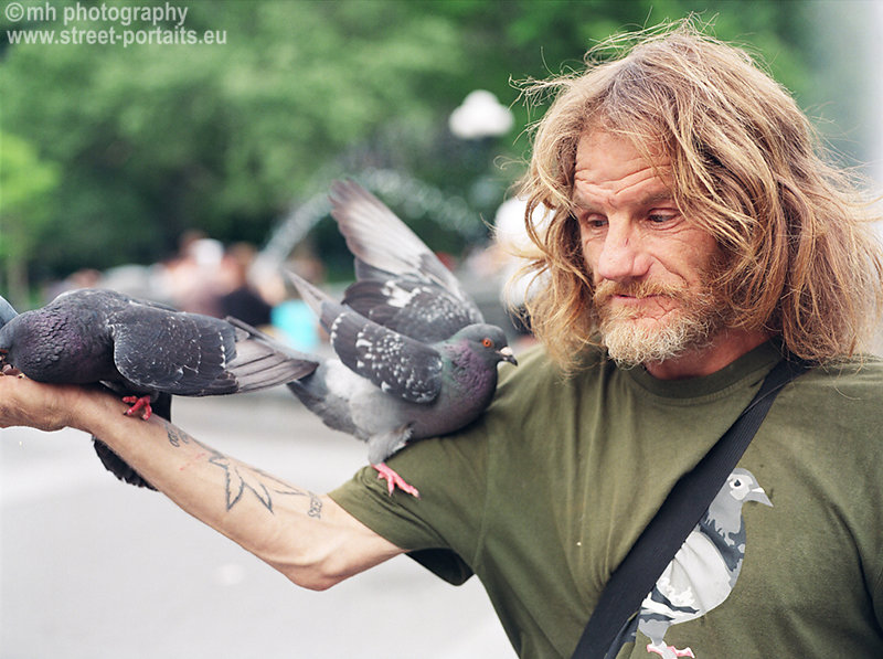 larry the pigeon guy - washington square park nyc