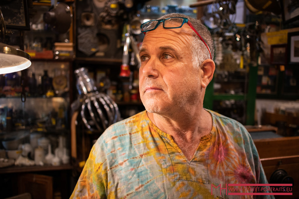 Shop owner of an antique shop in Tel Aviv